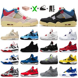Nike Air Jordan 4 Travis Scott Jordan Retro 4 Off White 4s 2020 Nova Jumpman com União Box Goiaba Ice Mulheres Mens Basketball sapatos de cetimJordâniaRetro Branco Sneakers