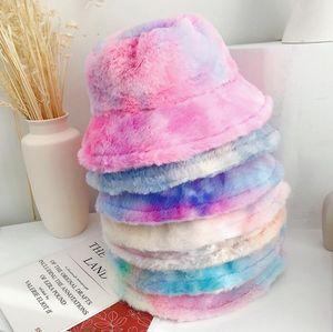 Tie Dye шапки Плюшевые Bucket Hat Женщины Fishman Колпачки Теплый Cap Девушка Rainbows широкими полями шапки Открытый Головные уборы (Партия Шляпы 6 цветов DHB3000
