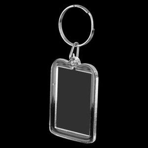 20Lot of 10Pcs Keyring DIY Detachable White Rectangle Photo Frame Keyring 3.3x5cm