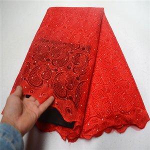 Лента вышитые африканские красные кружева ткань высокого качества камни нигерия шнур французский тюль сеть для свадебного платья PSA700-1