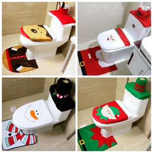 3PCS Christmas Toilet Cover Mat Lovely Santa Claus Bathroom Mat Xmas Decor Bathroom Santa Toilet Cover Rug Home Decoration FWF2982