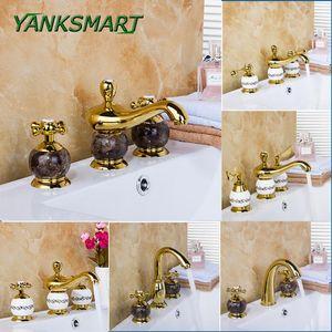 YANKSMART Luxury Deck Mounted Mixer Ceramic Gold Marble Taps Waterfall 3 Pieces Bathroom Bathtub Basin Sink Brass Faucet Set