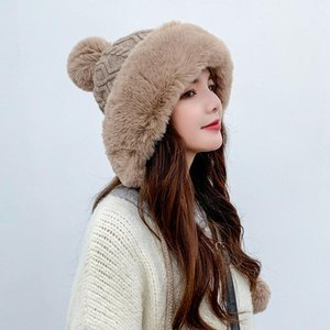 Outdoor Earflap Wool Knitted Snow Ski Cap Fleece Bomber Trapper Hat Women Faux Fur Pompom Winter Beanie Hat Bonnet Femme Cap