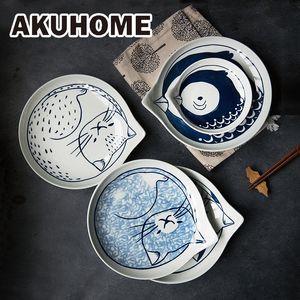 Japanese Style Ceramic Teardrop Plates Dishes Sets Fruit Tableware Creative Design Cute Cartoon Lucky Cat Pattern C1004