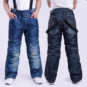 Лыжные брюки LEOSOXS джинсы мужские ветрозащитный водонепроницаемый штаны сноуборд лыж Ремень Утолщенные Теплые Износостойкие хлопок снег