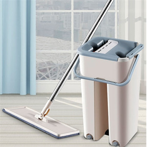 Mops with free handle, handkerchief leaching, dry cleaning and washing system minivan