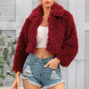 Womens Ladies Warm Faux Coat Jacket 2021 Winter Solid Fake Fur Cropped Jacket Turn Down Collar Outerwear Open Front Overcoat J60