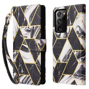 Caso de carteira Marbling para Samsung Galaxy Note20 Ultra Note10 Pro Couro Flip Capa para Samsung S20 Fe S10 Plus Case com Cartão Porcket