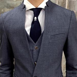 Мужские костюмы BLAZERS Последние пальто брюки дизайн стойки воротник 3 шт. Серый мужская формальные черные мужчины свадебные Trajes de Hombres Vestir (