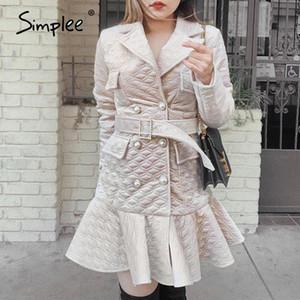Simplee motif diamant élégant A-ligne femmes robe d'hiver ceinture bouton perle col V robe froissée High Street court chaud
