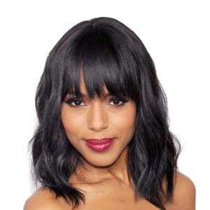 Elegant Black Wigs And Short Curly Wigs For Ladies With Bangs, Black Charming Natural Wave Wigs, Black Women's Wigs And Bangs For Women