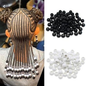 50pcs bag Black and White Dreadlocks Hair Ring Hair Braid Beads hair braid dread dreadlock Beads cuffs clips approx 6mm hole
