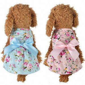 Verano perro mascota Impreso Streamer princesa vestido del algodón de la ropa TB Venta N58L #