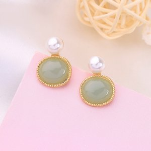 Fashion Trend Geometric Circle shape Pearl ear stud Earrings or ear clip earring without hole for women