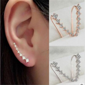 CZ Diamond Clip Cuff Earrings Silver Gold Plated Dipper Hook Stud Earrings Jewelry for Women Earring ZL . .