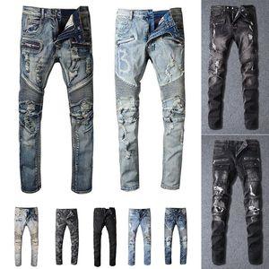 Zerrissene Mode Jeans Kleidung Designer Hosen Hellblaue Herren Slim Denim Gerade Biker Hole Hip Hop Jeans Männer
