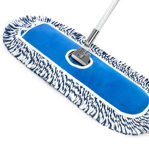 Десять наборов плоской шваброй большой 60см пыли Push Blue и белая швабра хлопковая пряжа швабры бытовой коммерческий алюминиевый сплава выдвижной