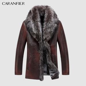 Veste en cuir véritable Caranfier Hommes Veste d'hiver Fourrure naturelle Véritable manteau de peau de mouton pour hommes Liner de laine Raccon en fourrure Collier C1021