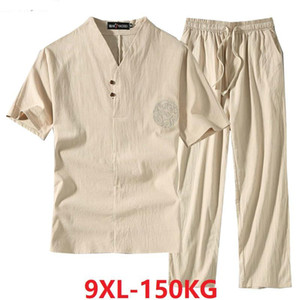 Men's Clothing Large Size Tracksuit Husband 2020 Summer Suit Linen t-shirt Fashion Male Set Chinese Style 8XL 9XL plus Two Piece