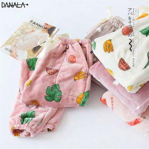 Danala Sonbahar Kış Pijama Ev Dipleri Meyve Baskı Kalın Flanel Sıcak Pijama Pantolon Kadınlar Pijama Mujer Pantolon Y200425