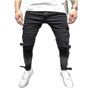 2020 Fall Winter New Style Men's Slim Denim Black Big Pocket Hip-Hop Waistband Pants Street Fashion Casual Motorcycle Pants
