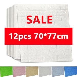 3D Wall Stickers Imitation Brick Bedroom Decor Waterproof Self-adhesive Wallpaper For Living Room Kitchen TV Backdrop Decor70*77 201207