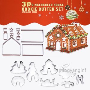 18 Piece Gingerbread House Cutters 3D Christmas House Cookie Cutter Set, Stainless Steel Biscuit Cutter Mold Set Xmas DIY Baking MY-inf0429