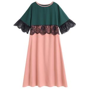 Siskakia Plus Taille Midi Dress Mode Mode Mesh Dentelle Hit Couleur Patchwork Robes élégantes Femmes Rose 3/4 Manches Spring Summer 2020 Y1224
