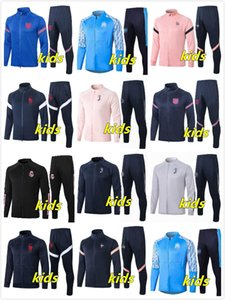20 21 Kids Soccer Cheaturseuit Full Zip Jacket 2020 2021 Real Madrid Kids Football Training Chaqueta Enfant Niño Survetement Chandal Jerseys