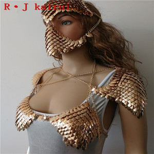 New Fashion WRB1012 Scalemail Mermaid Scales Layers Chainmail Gold Fish Scale Head Hair Chains Jewelry Y200918