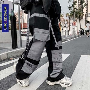 UNCLEDONJM Colour Block Cargo Pants Men Streetwear Hip hop Loose fit Trousers Casual Pants Harajuku Man Fashion V2-1997 201110