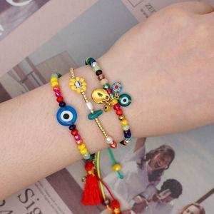 Classic Turkish Blue Eye Bracelet Women Charm Bracelets Jewelry Handmade Adjustable Rope Crystal Beads Pulseras Mujer