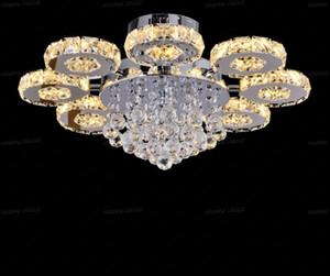 Modern LED Kristal Tavan Alışveriş Merkezi Lustres de Cristal için Işık Yuvarlak Yuvarlak Armatür Ev Dekoratif Işık Armatür