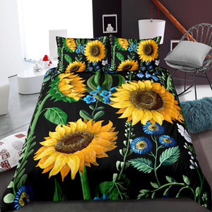 Bright Sunflower Art Comforter Bedding Sets Microfiber Duvet Cover Single Double Size Bed Cover Girls Adults Bedroom Bedspreads