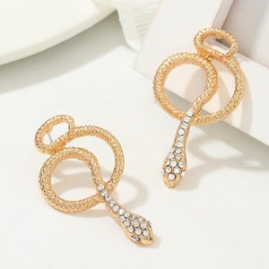 vintagen trend snake earring goth exaggerated metal crystal snake ear studs jewelry for women accessories