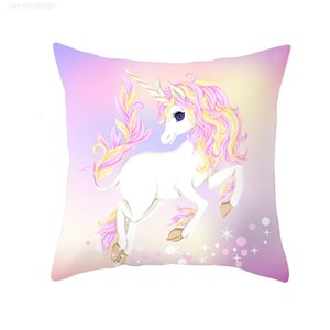 Cartoon Purple Unicorn Series Cushion Polyester Pillow Case Home Decorative Pillows Cover for Sofa Car