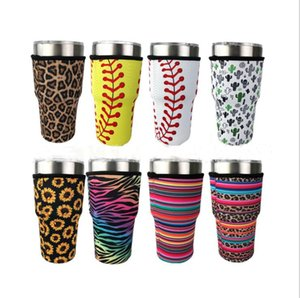 Tumbler Holder Cover Sacs Iced Coffee Cup manches en néoprène isotherme manches Tasses tasses Bouteille d'eau couverture avec sangle 15 Styles 30oz DHB2908