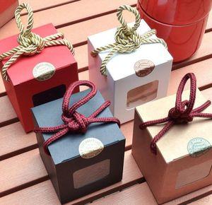 A-Free DHL Shipping 500pcs lot 7.5*7.5*9cm Window kraft paper gift honey jam tea brown sugar box Candy Boxes OWD2955
