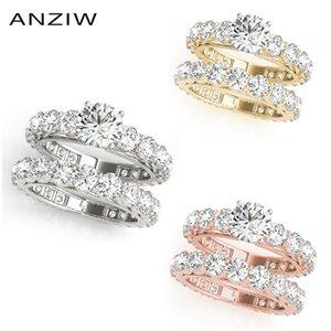 Anziw 925 стерлинговые серебро стерлингового серебра с обручальным кольцом белое золото желтый золотой розовый золотой цвет круглый любовник кольцо ассивиалийский ювелирные изделия J0112
