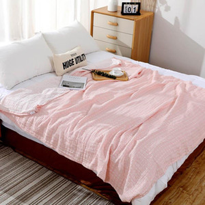 Pure Cotton Towel Blankets for Bed Sofa Travel Office Car 2 Layer Throw Blanket Air Condition Summer Quilt 150x200cm 200x230cm