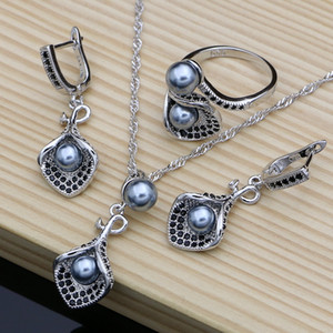 Flower Silver 925 Bridal Jewelry Sets Black Pearl Zircon For Women Wedding Pendant Drop Earrings Open Rings Necklace Set