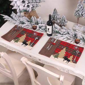 عيد الميلاد الجدول ماتس ضد الحرارة القماش مطبخ تناول الطعام وسادات عيد الميلاد منقوش إلك شجرة عيد الميلاد الديكور تحديد الموقع JK2010XB
