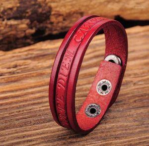 G369 Kırmızı Şık Tek Wrap Vintage Kabartmalı Deri Bileklik Bilezik Manşet Yeni1