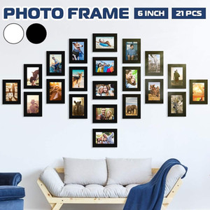 11pcs Picture Photo Frame Set DIY Removable Wall Mural Black White Color Photos Frames Sticker Decal Living Room Home Decor Q1107