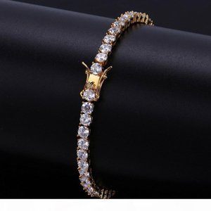 Mens Bracelets Iced Out Diamond Tennis Chain Bracelet Hip Hop Jewelry Copper Material Gold Silver Rose Color Box Clasp CZ Bangle Link 4mm