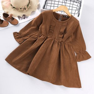 Girls' Dress New Korean Version Of The Autumn New Corduroy Pleated Lace Princess Dress Children Toddler Baby Kids Clothing 2-6Y