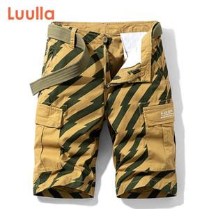 Luulla Verão New Men Moda Print Pattern Cotton carga shorts homens soltas Fit Mutil Pockets listrado Shorts Legwear