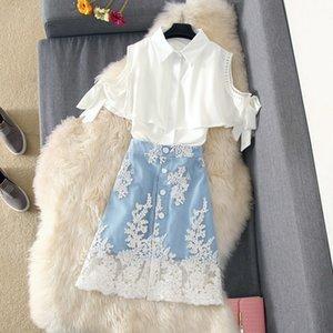 Lace Patchwork Denim Skirt 2 Piece Set Women Off Shoulder Chiffon Blouse Shirt Denim Skirt Suit Casual Student Girls Suit 201012