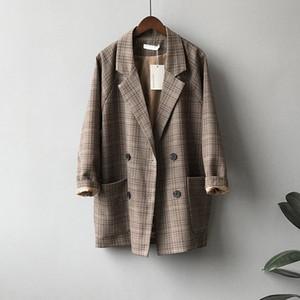 2020 Autumn Suits Blazer Jacket Women Checks Pattern Coat Casual Loose Clothes Vintage Classic Tops Female Plaids Suit Blazers T200828