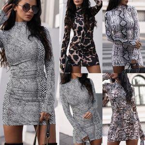 Women Dresses Fashion Sexy Snake Printing Long Sleeve Stand Neck Slim Dress Ladies Mini Mid Skirt Nightclub Leisure Clothing